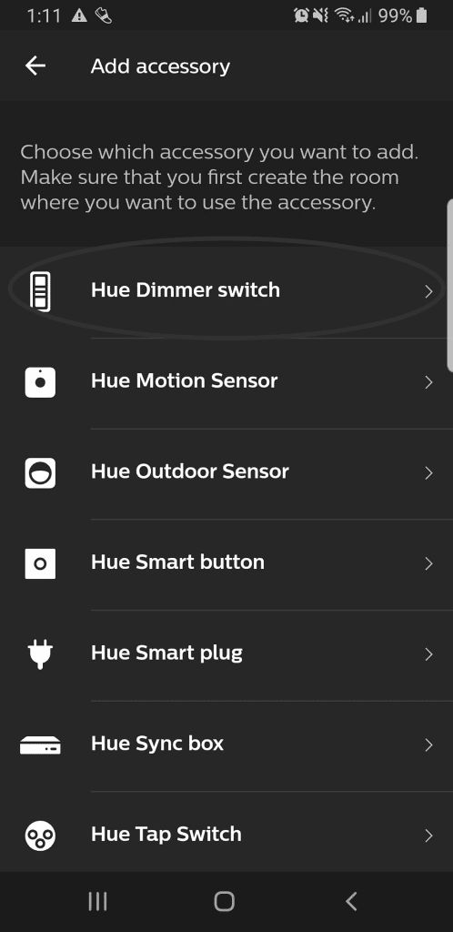 Adding a Hue Dimmer Switch